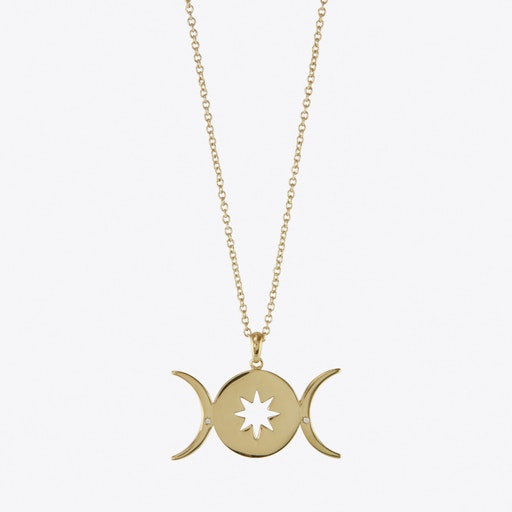 Triple Moon Goddess Star Necklace in Gold