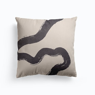 Abstract Brush Stroke 3 In Charcoal Canvas Cushion