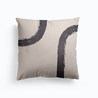 Abstract Brush Stroke 1 In Charcoal Canvas Cushion