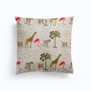 Animal March Canvas Cushion