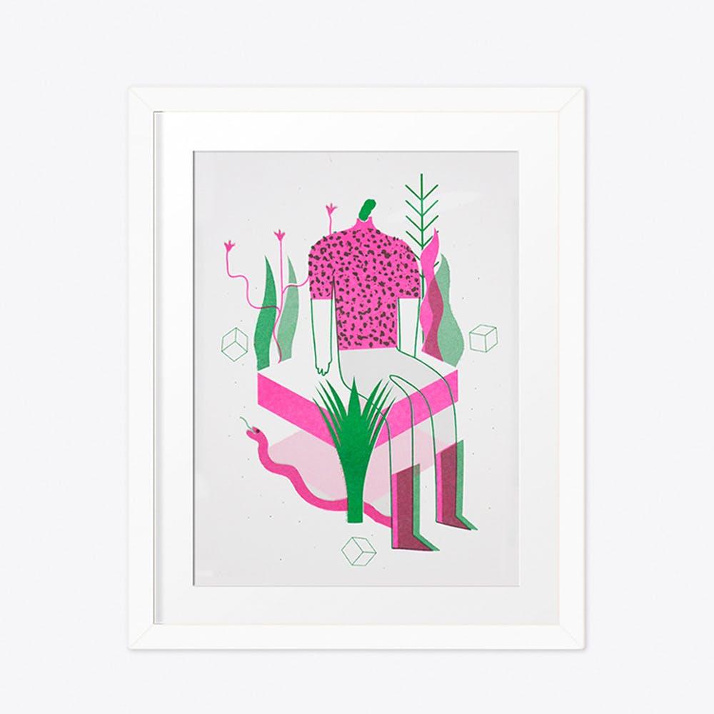 Human, cubes and nature Print A4