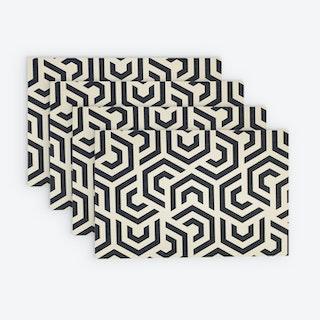 Printed Vinyl Placemat - Geoblack - Set of 4