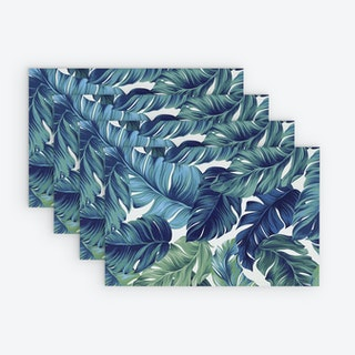 Printed Vinyl Placemat - Tropical Blues - Set of 4