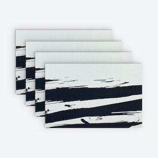 Printed Vinyl Placemat - Brushstroke Black - Set of 4