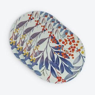 Printed Round Vinyl Placemat - Garden - Set of 4