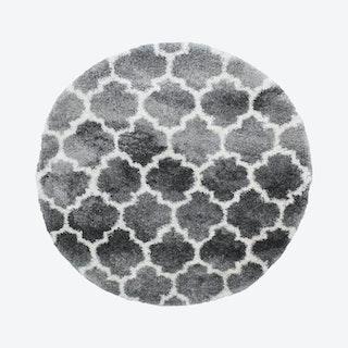 Lux Ava Round Shag Rug - Grey / Ivory