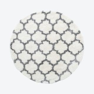 Lux Ava Round Shag Rug - Ivory / Grey