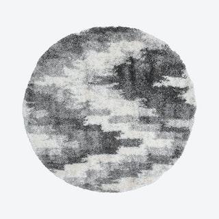 Lux Emma Round Shag Rug - Charcoal / Ivory