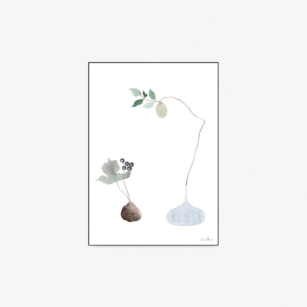 Blue Ikebana Print A4