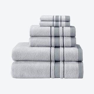 Enchasoft Turkish Towels - Silver - Set of 6