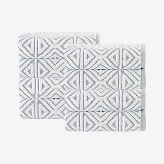 Glamour Turkish Hand Towels - Silver - Set of 8