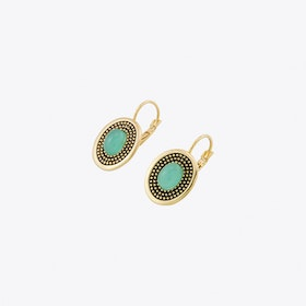 db2075f8adc7 Gold Round Earrings with Mint Stones