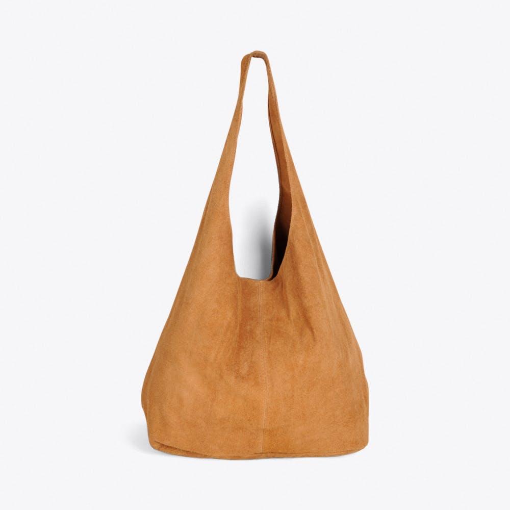 Large Suede Hobo Bag in Camel