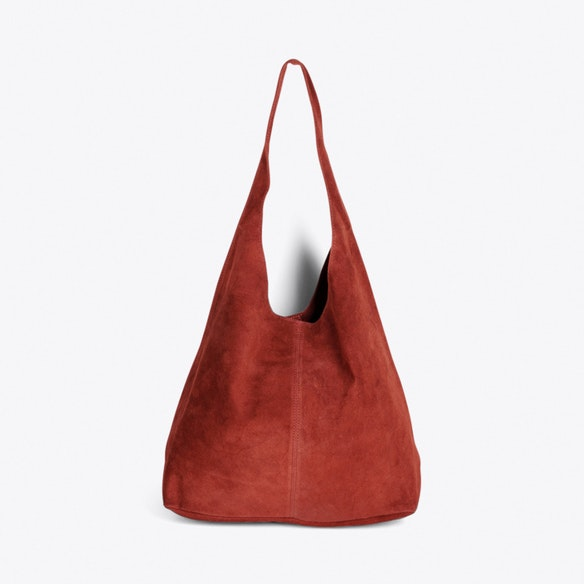 642aa39f7ac3 Large Suede Hobo Bag in Bordeaux by ImiLoa. Discover Bags on Fy