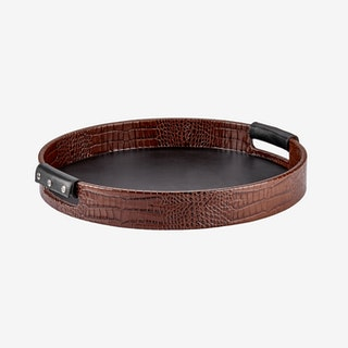 Round Tray - Brown - Crocodile Embossed Leather
