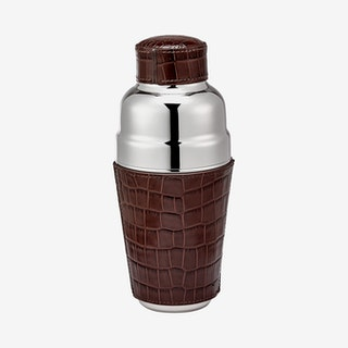 Cocktail Shaker - Brown - Crocodile Embossed Leather