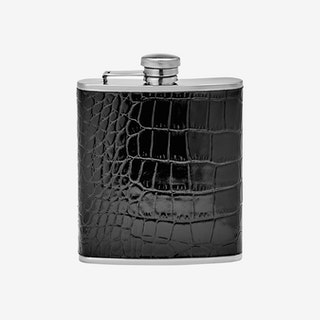 Flask - Black - Crocodile Embossed Leather