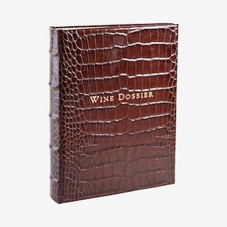 Tabbed Wine Dossier - Brown - Crocodile Embossed Leather