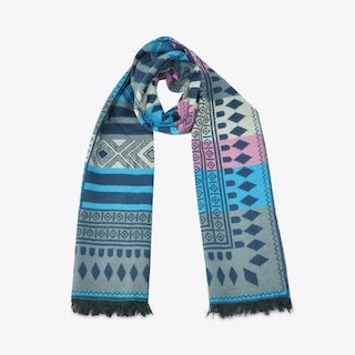 Geometric Scarf in Blue & Pink