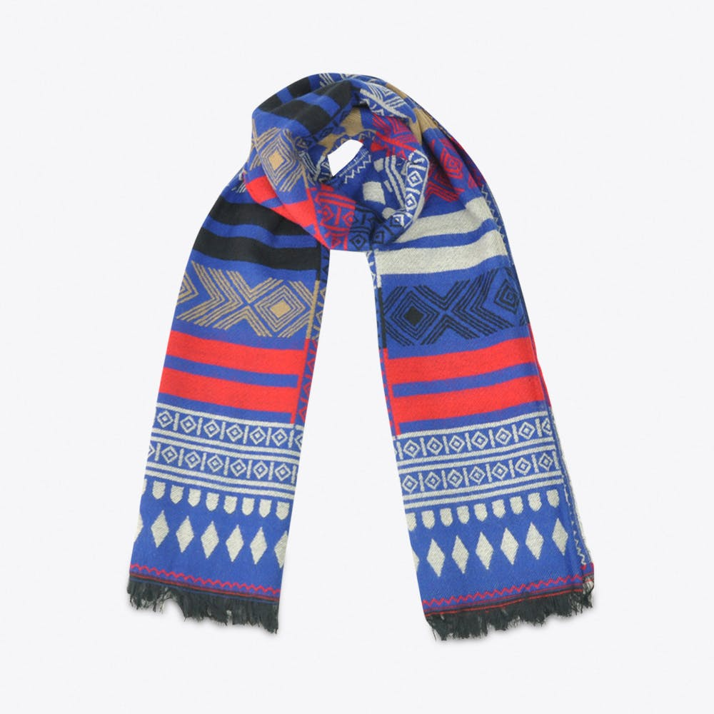 Geometric Scarf in Blue & Red