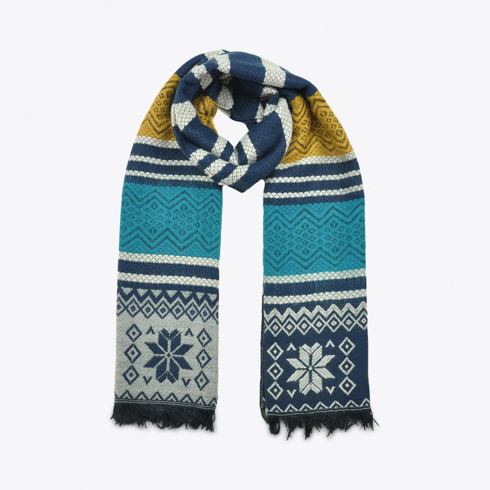 Mixed Patterned Scarf in Blue & Yellow