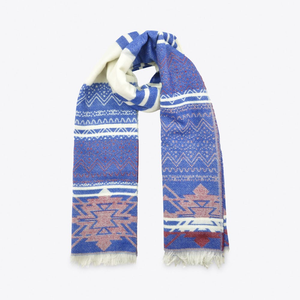 Patterned Scarf in Blue & Red