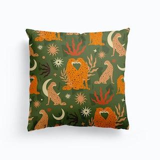 Cheetah Love Pattern Green Canvas Cushion