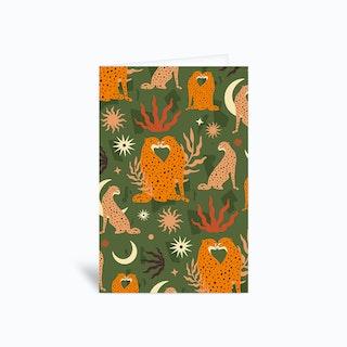 Cheetah Love Pattern Green Greetings Card