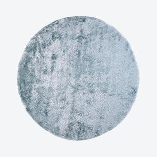 Indochine Plush Metallic Sheen Round Area Rug - Light Aqua Blue