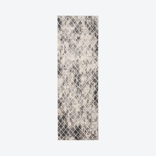 Kano Distressed Diamonds Runner Rug - Charcoal / Beige