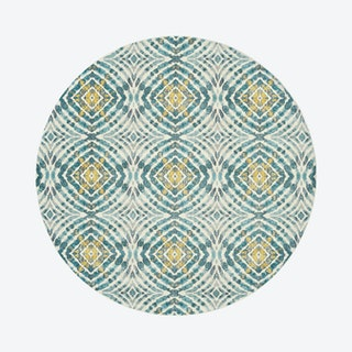 Keats Abstract Ikat Print Round Area Rug - Teal Blue / Golden