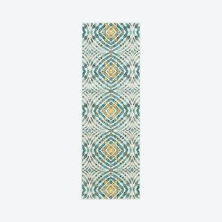 Keats Abstract Ikat Print Runner Rug - Teal Blue / Golden