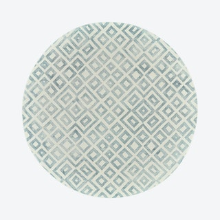 Lorrain Diamonds Patterned Round Area Rug - Teal Green