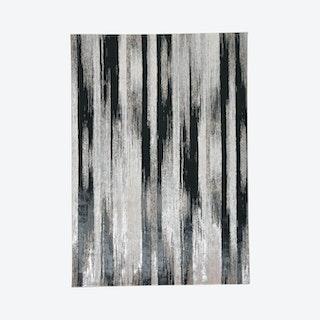 Micah Gradient Streak Metallic Area Rug - Black / Metallic Silver