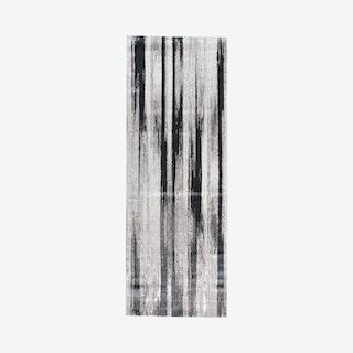 Micah Gradient Streak Metallic Runner Rug - Black / Metallic Silver
