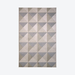 Micah Architectural Inspired Area Rug - Silver / Bone