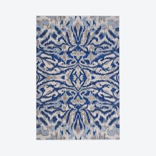 Milton Abstract Ikat Print Area Rug - Classic / Ice Blue