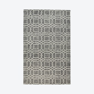 Rhett Geometric Lattice Print Area Rug - Charcoal Grey
