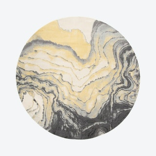 Bleecker Watercolor Effect Round Area Rug - Gargoyle Gray / Pale Yellow