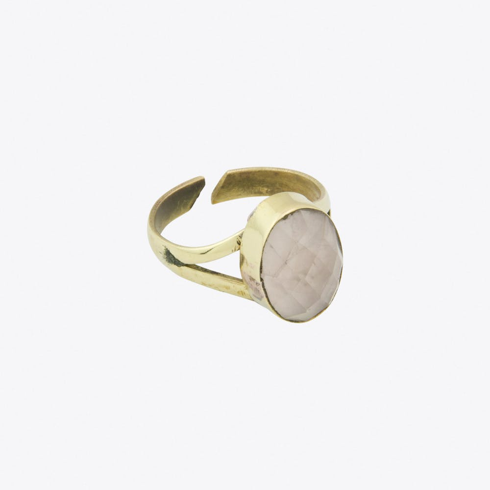 Rose Quartz Recycled Brass Ring