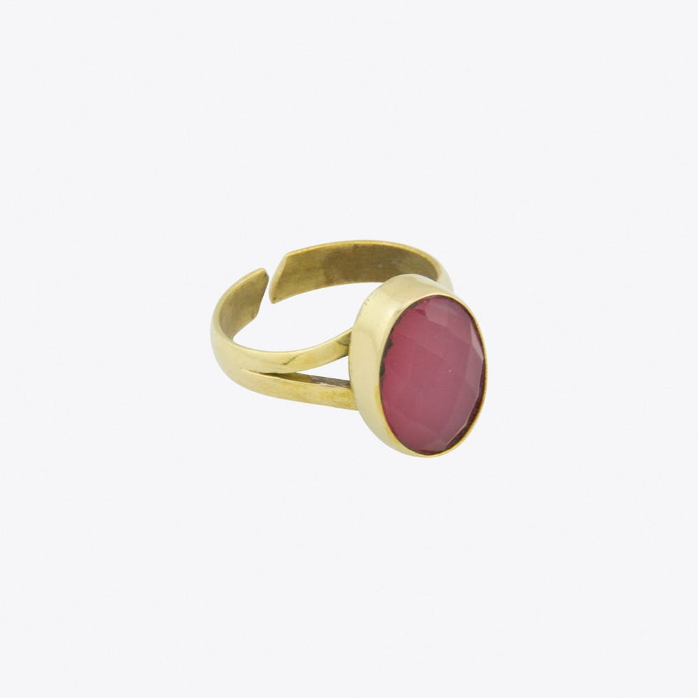 Dark Rose Quartz Recycled Brass Ring