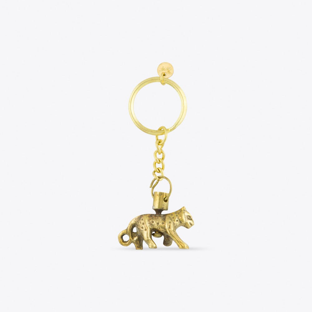 Leopard Brass Keychain