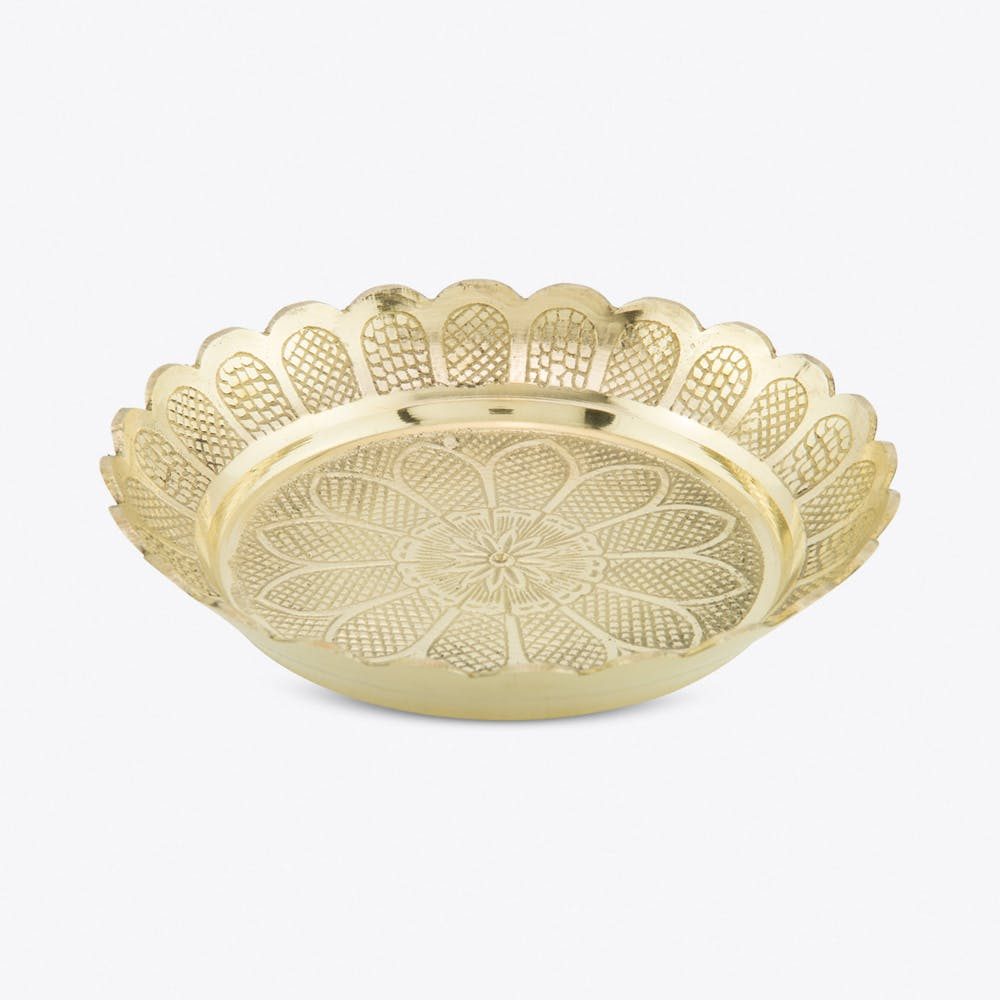 Large Brass Flower Bowl