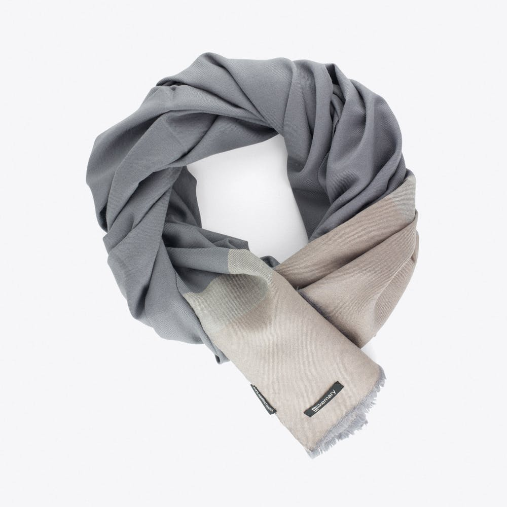 Merino Wool Blanket Scarf in Grey