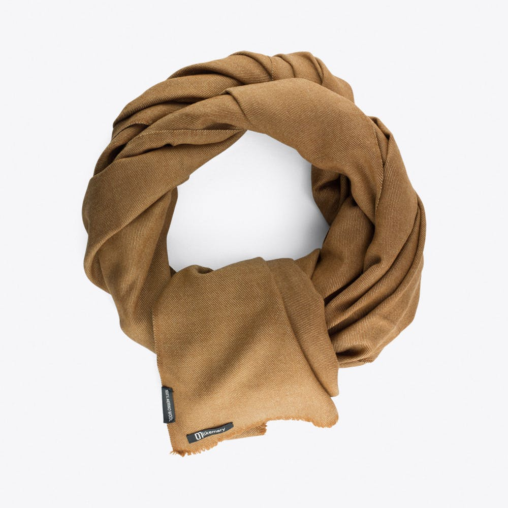 Twill Mixed Weave Blanket Scarf in Camel