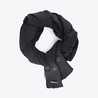 Blanket Scarf With Crosses in Black