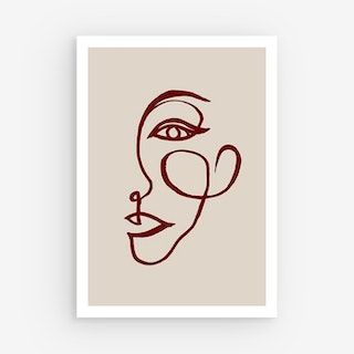Neutral Abstract Canvas Prints - Taupe / Red