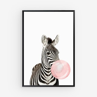 Pink Bubblegum Zoo Canvas Prints - Zebra