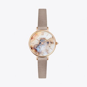 Slim Montana Agate Watch in Gold & Natural