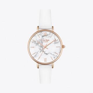 White Howlite Watch in Gold & White Strap